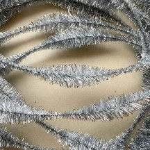 "Large 5"" Bump Chenille in Metallic Silver Tinsel ~ 1 yd."