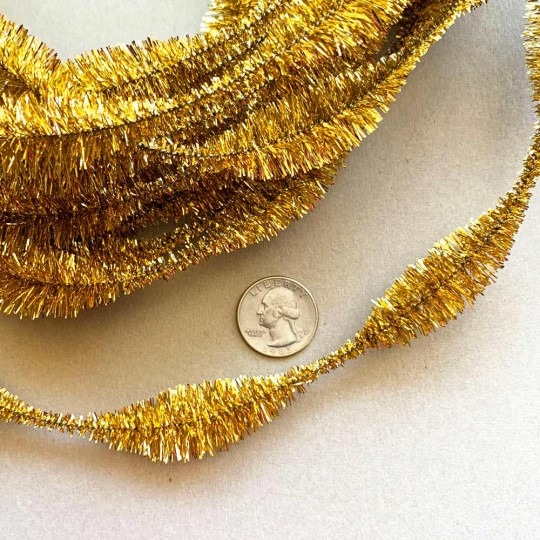"3-1/4"" Bumps Metallic Gold Retro Chenille Bump Wired Tinsel Garland ~ 1 yd."