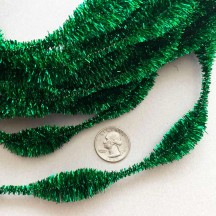 "3-1/4"" Bumps Metallic Green Retro Chenille Bump Wired Tinsel Garland ~ 1 yd."