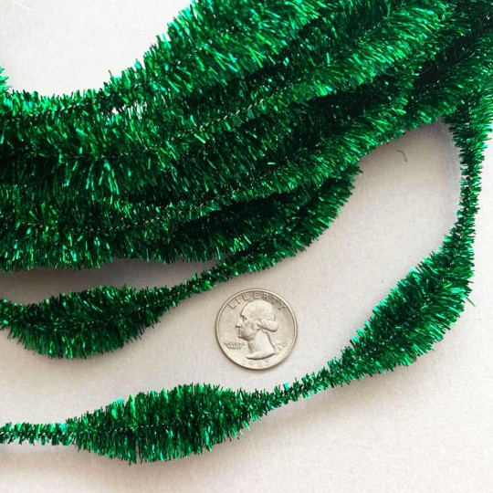 "3-1/4"" Bumps Metallic Green Retro Chenille Bump Wired Tinsel Garland ~ BULK ~ 10 Meter Garland Length"