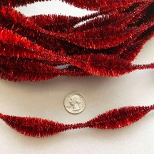 "3-1/4"" Bumps Metallic Red Retro Chenille Bump Wired Tinsel Garland ~ 1 yd."
