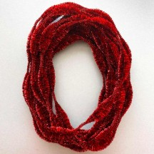 "3-1/4"" Bumps Metallic Red Retro Chenille Bump Wired Tinsel Garland ~ BULK ~ 10 Meter Garland Length"