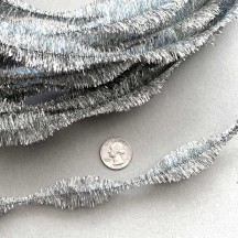 "3-1/4"" Bumps Metallic Silver Retro Chenille Bump Wired Tinsel Garland ~ 1 yd."