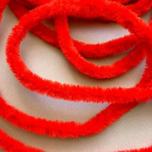 "Soft 7/8"" Wired Chenille Cording in Red ~ 1 yd."