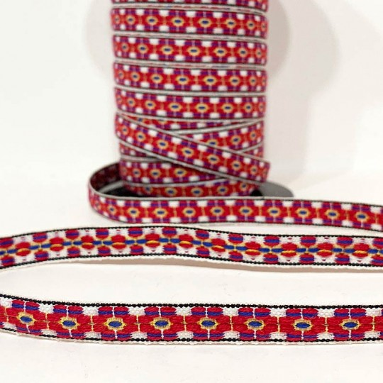 Red Floral Folkloric Costume Trim ~ Sweden ~ 13 mm wide