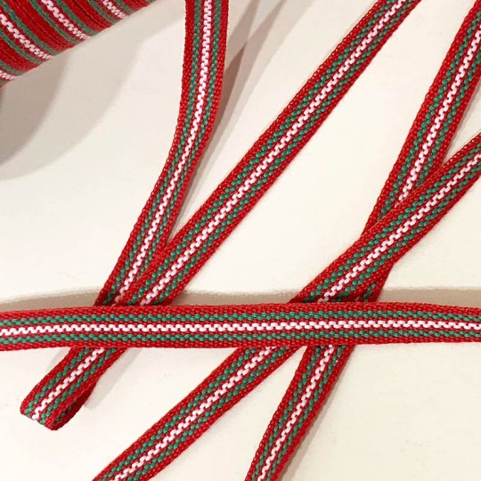 Red and Green Geometric Stripe Folkloric Costume Trim ~ Sweden ~ 7 mm wide