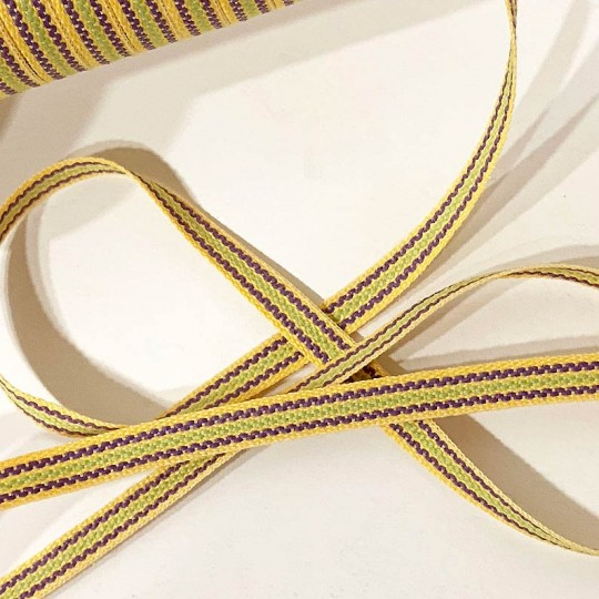 Yellow, Purple, Green Geometric Stripe Folkloric Costume Trim ~ Sweden ~ 7 mm wide
