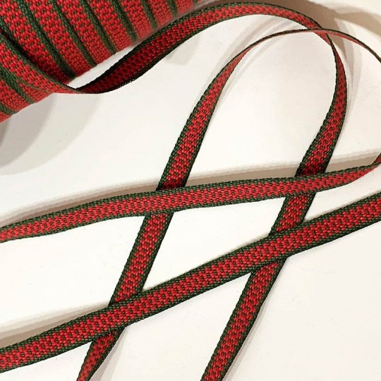 Red and Green Geometric Folkloric Costume Trim ~ Sweden ~ 7 mm wide