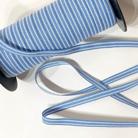 Light Blue and White Geometric Stripe Folkloric Costume Trim ~ Sweden ~ 7 mm wide