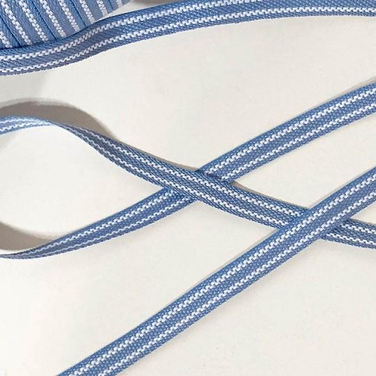 Light Blue and White Geometric Stripe Folkloric Costume Trim ~ Sweden ~ 7 mm wide