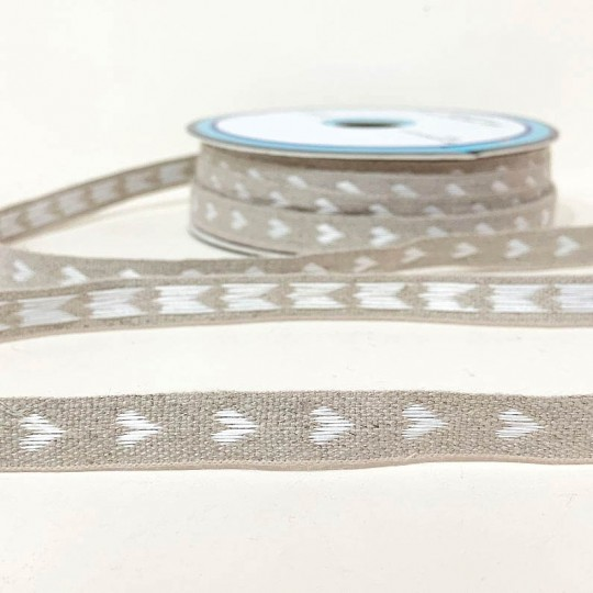 White Hearts Linen Ribbon Trim ~ France ~ 11 mm wide