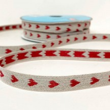 Red Hearts Linen Ribbon Trim ~ France ~ 11 mm wide