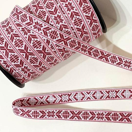 Burgundy Nordic Folkloric Costume Trim ~ Sweden ~ 15 mm wide