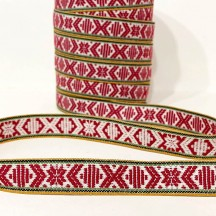 Burgundy Nordic Folkloric Costume Trim ~ Sweden ~ 15 mm wide