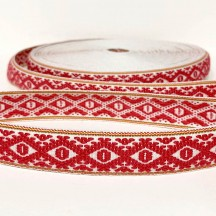 Red Geometric Folkloric Costume Trim ~ Sweden ~ 25 mm wide