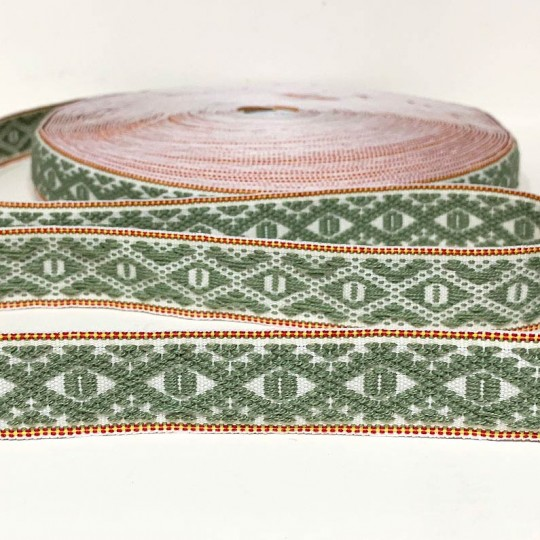 Green Geometric Folkloric Costume Trim ~ Sweden ~ 25 mm wide