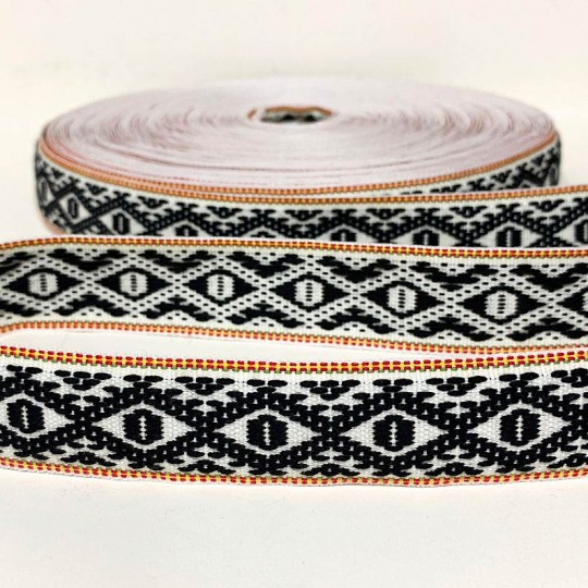 Black Geometric Folkloric Costume Trim ~ Sweden ~ 25 mm wide