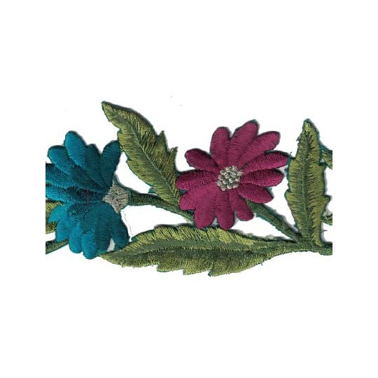 "Jewel Tone Calendula Flower Embroidered Cutwork Trim ~ India ~ 2-1/2"" wide"
