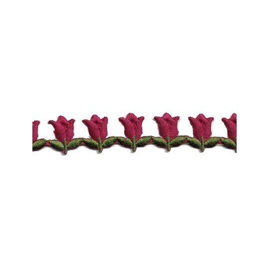 "Burgundy Tulip Floral Embroidered Cutwork Trim ~ India ~ 3/4"" wide"