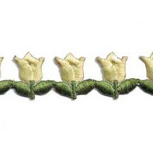 """Yellow Tulip Floral Embroidered Cutwork Trim ~ India ~ 3/4"""" wide"""