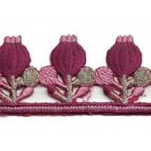 "Mauve Poppy Embroidered Cutwork Trim ~ India ~ 1-1/4"" wide"