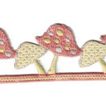 "Pastel Mushrooms Embroidered Cutwork Trim ~ India ~ 1-1/2"" wide"