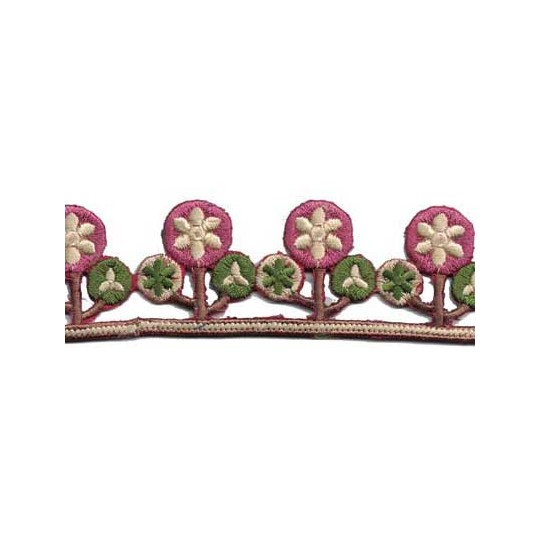 """Mauve Posies Embroidered Cutwork Trim ~ India ~ 1-1/4"""" wide"""