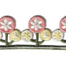 """Pastel Posies Embroidered Cutwork Trim ~ India ~ 1-1/4"""" wide"""