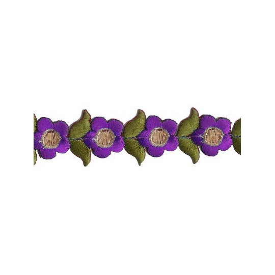 """Small Purple Flower Embroidered Cutwork Trim ~ India ~ 1"""" wide"""