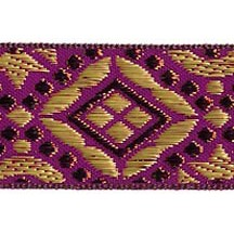 "Fuchsia, Gold and Bronze Geometric Pattern Metallic Jacquard Trim ~ India ~ 1-1/4"" wide"
