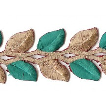 "Gold and Green Leaf Embroidered Cutwork Trim ~ India ~ 1-1/2"" wide"