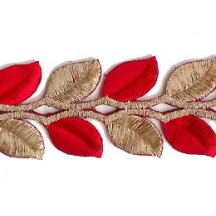 "Gold and Red Leaf Embroidered Cutwork Trim ~ India ~ 1-1/2"" wide"