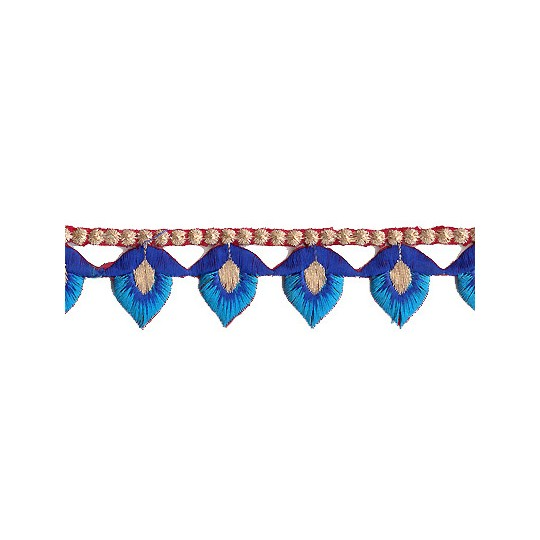 """Blue and Turquoise Flower Bud Embroidered Cutwork Trim ~ India ~ 1-1/8"""" wide"""