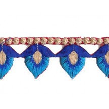 "Blue and Turquoise Flower Bud Embroidered Cutwork Trim ~ India ~ 1-1/8"" wide"