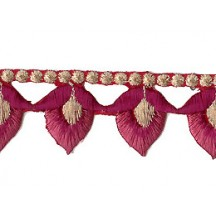 "Mauve and Burgundy Flower Bud Embroidered Cutwork Trim ~ India ~ 1-1/8"" wide"