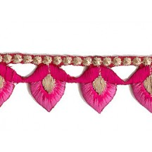 "Pink Flower Bud Embroidered Cutwork Trim ~ India ~ 1-1/8"" wide"