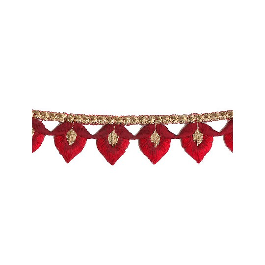 """Red and Burgundy Flower Bud Embroidered Cutwork Trim ~ India ~ 1-1/8"""" wide"""