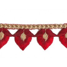 "Red and Burgundy Flower Bud Embroidered Cutwork Trim ~ India ~ 1-1/8"" wide"
