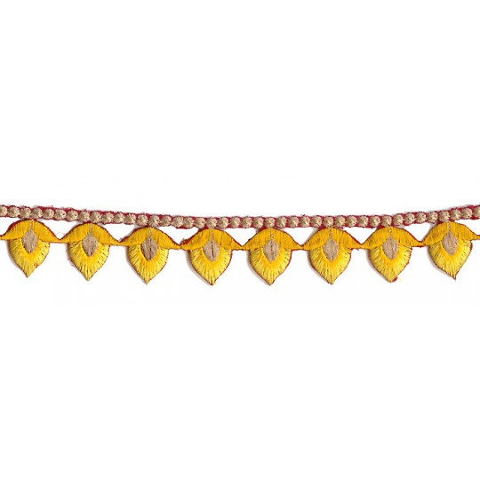 "Yellow Flower Bud Embroidered Cutwork Trim ~ India ~ 1-1/8"" wide"
