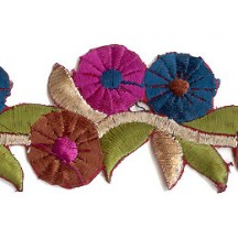 "Magenta and Teal Tri-Flower Embroidered Cutwork Trim ~ India ~ 1-5/8"" wide"