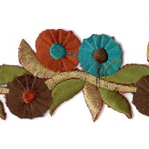 "Brown and Teal Tri-Flower Embroidered Cutwork Trim ~ India ~ 1-5/8"" wide"