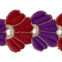 "Purple and Burgundy Fan Flower Embroidered Cutwork Trim ~ India ~ 2"" wide"