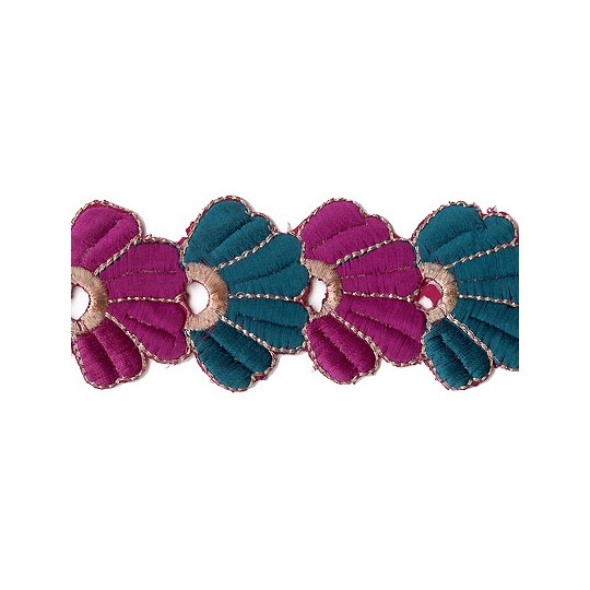 "Magenta and Teal Fan Flower Embroidered Cutwork Trim ~ India ~ 2"" wide"