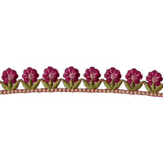 "Magenta and Green Flower Embroidered Cutwork Trim ~ India ~ 1-1/4"" wide"