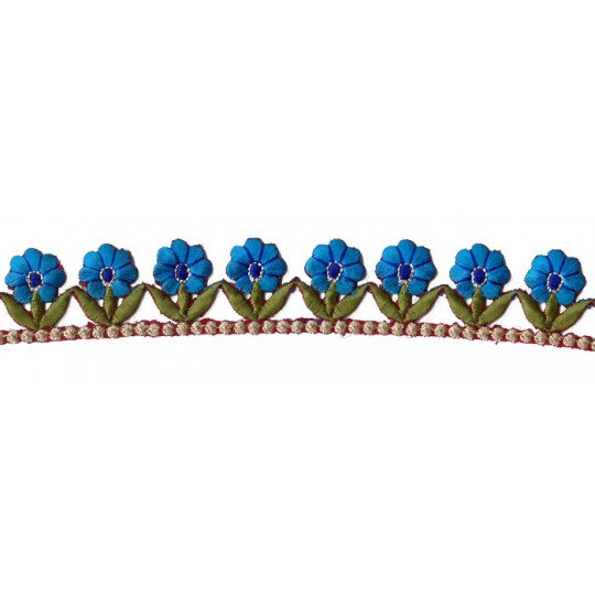 """Turquoise and Green Flower Embroidered Cutwork Trim ~ India ~ 1-1/4"""" wide"""