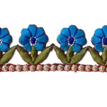 "Turquoise and Green Flower Embroidered Cutwork Trim ~ India ~ 1-1/4"" wide"