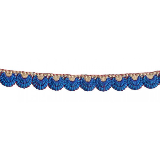 "Blue and Turquoise Scalloped Embroidered Cutwork Trim ~ India ~ 3/4"" wide"