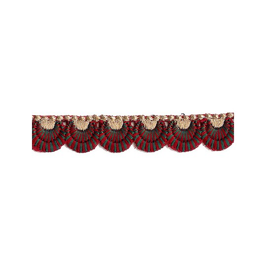 "Burgundy and Green Scalloped Embroidered Cutwork Trim ~ India ~ 3/4"" wide"