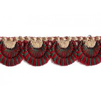 """Burgundy and Green Scalloped Embroidered Cutwork Trim ~ India ~ 3/4"""" wide"""