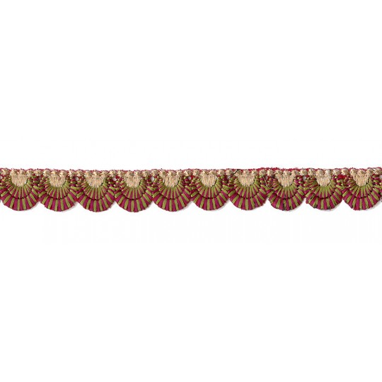 "Magenta and Olive Green Scalloped Embroidered Cutwork Trim ~ India ~ 3/4"" wide"
